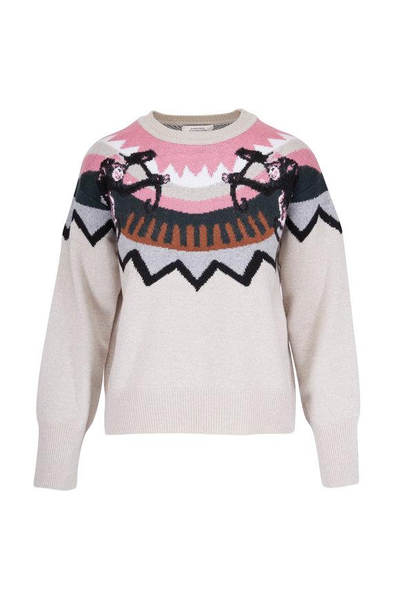 Dorothee Schumacher Wild Wonder Pink & White Intarsia Sweater