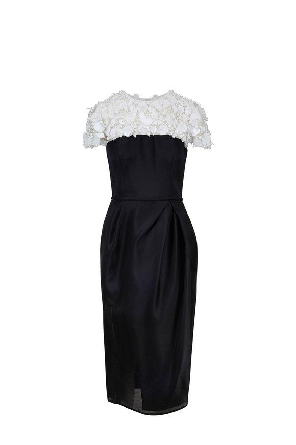 Carolina Herrera Black & White Silk Embellished Cocktail Dress