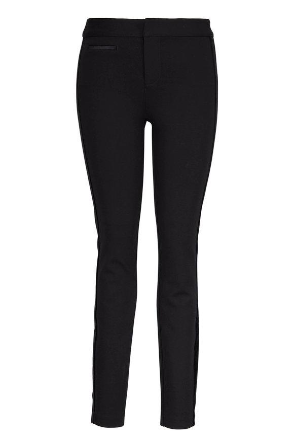 Paige Denim Tereza Black Stretch Velvet Side Stripe Pant