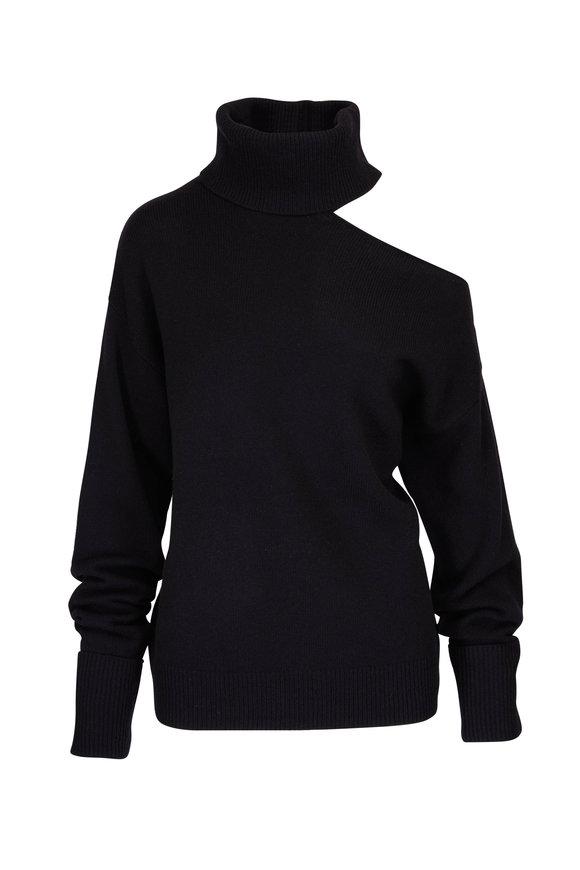 Paige Denim Raundi Black Turtleneck Cold Shoulder Sweater