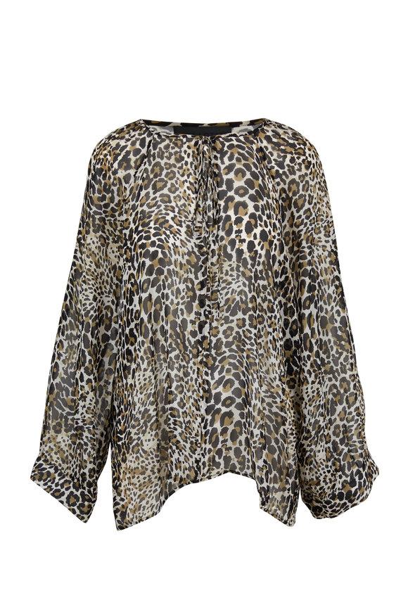 Nili Lotan Acadia Leopard Print Silk Blouse
