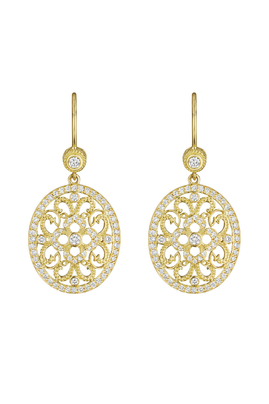 Yellow Gold Round Curly Lace Earrings