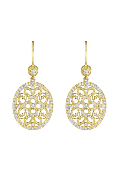 Penny Preville - Yellow Gold Round Curly Lace Earrings