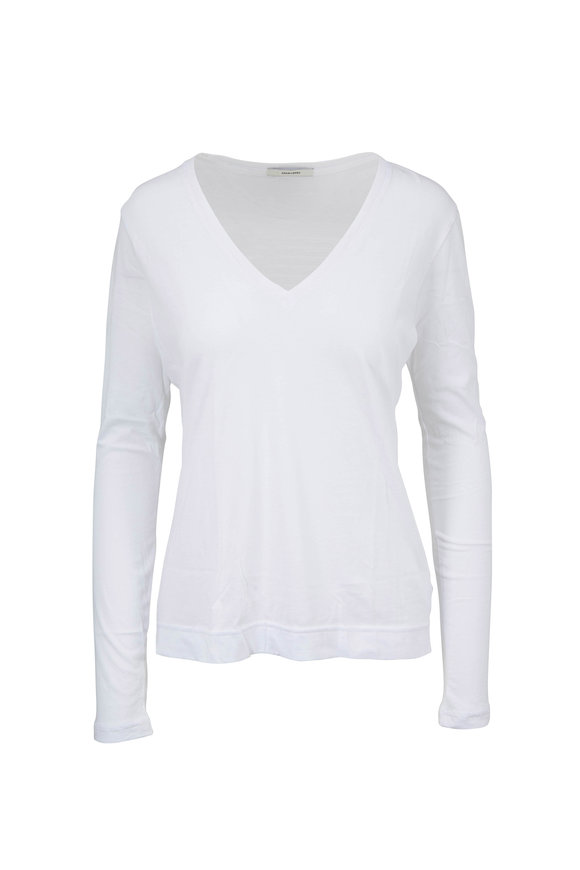 Adam Lippes White Pima Cotton Long Sleeve T-Shirt