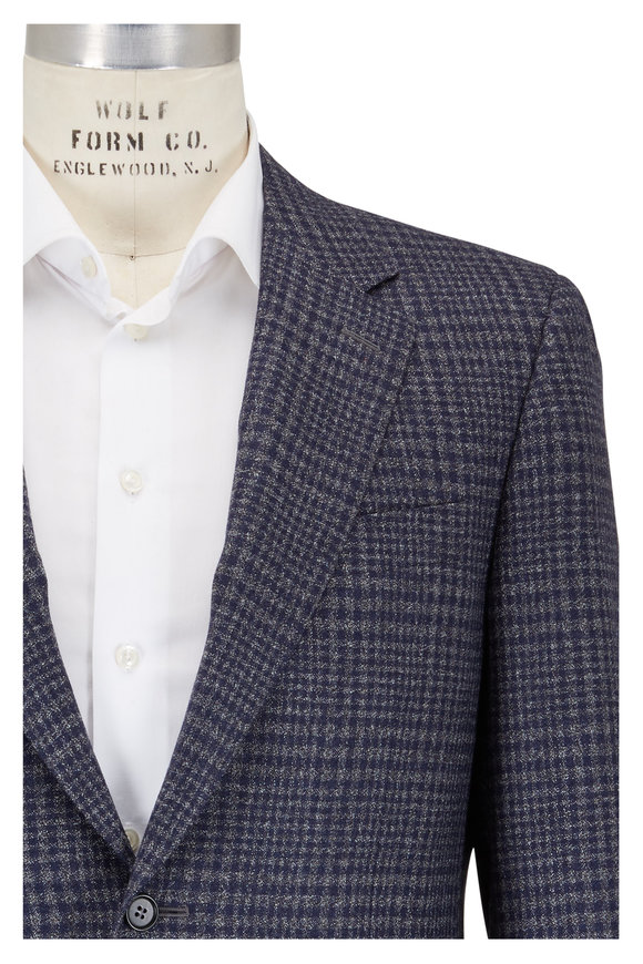Canali Gray & Blue Plaid Wool Sportcoat