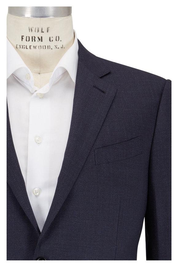 Ermenegildo Zegna Trecapi Navy Blue Wool Plaid Suit