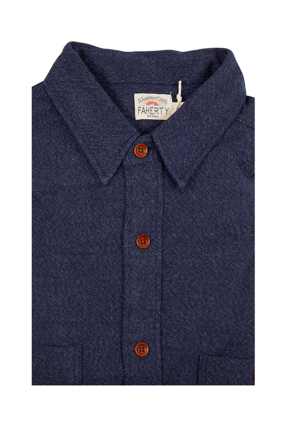 Faherty Brand Seasons Navy Blue Brushed Alpine Flannel Shirt