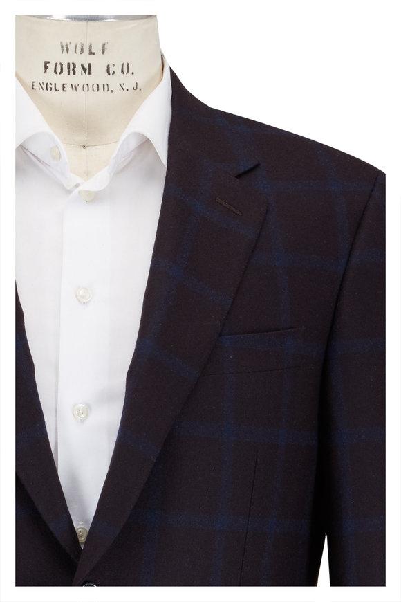 Canali Dark Blue Cashmere Windowpane Sportcoat