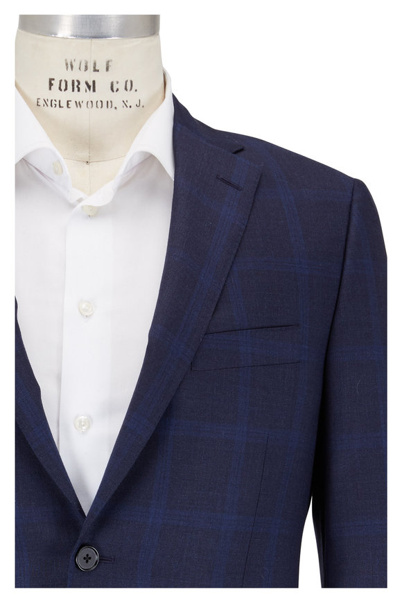 Hickey Freeman Gray & Blue Plaid Wool Suit