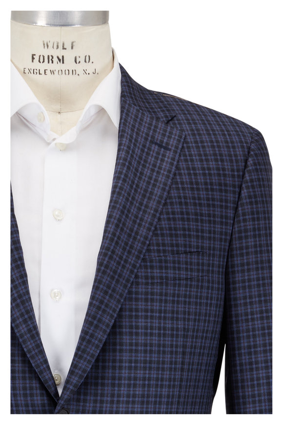 Hickey Freeman Navy & Wine Wool Check Sportcoat