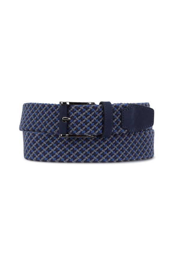 Peter Millar Blue & Gray Woven Elasticized Belt
