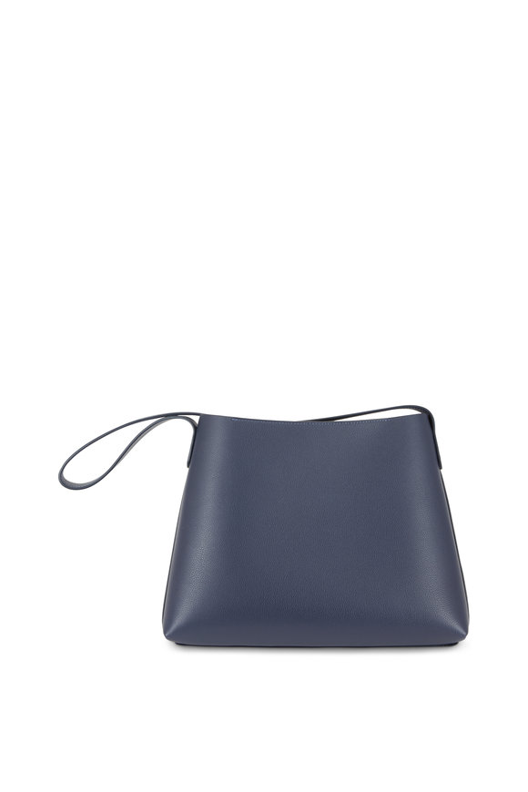 Mansur Gavriel Navy Blue Pebbled Leather Shoulder Bag