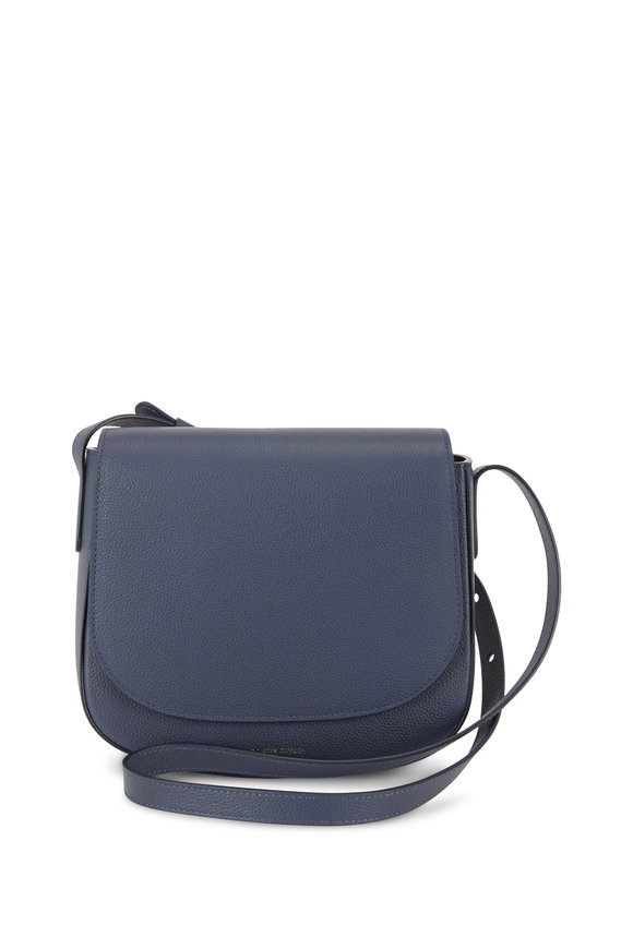 Mansur Gavriel Navy Blue Pebbled Leather Crossbody Bag