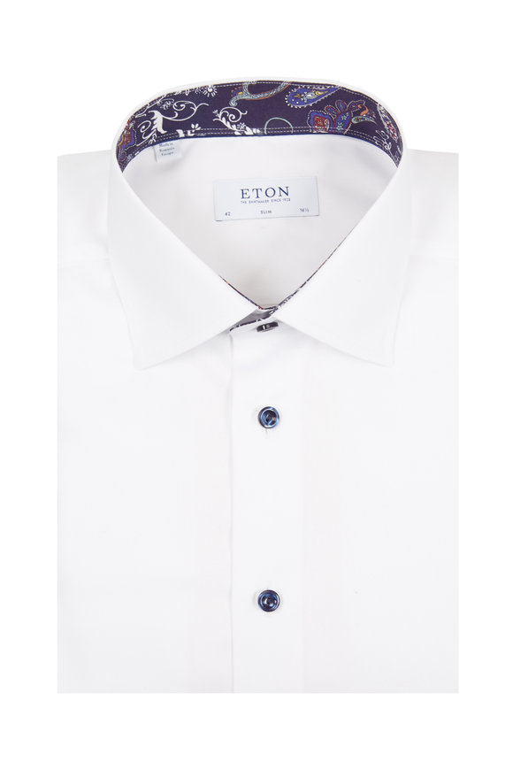 Eton White With Paisley Accent Slim Fit Dress Shirt