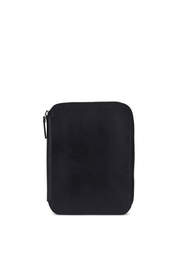 Shinola Black Leather Full-Zip Tech Portfolio