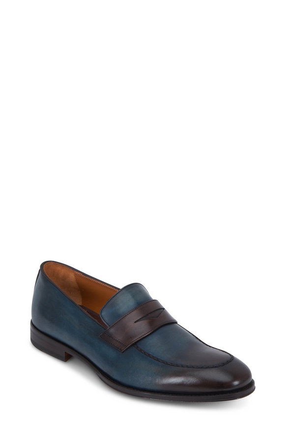 Bruno Magli Fanetta Blue & Dark Brown Burnished Leather Loafer