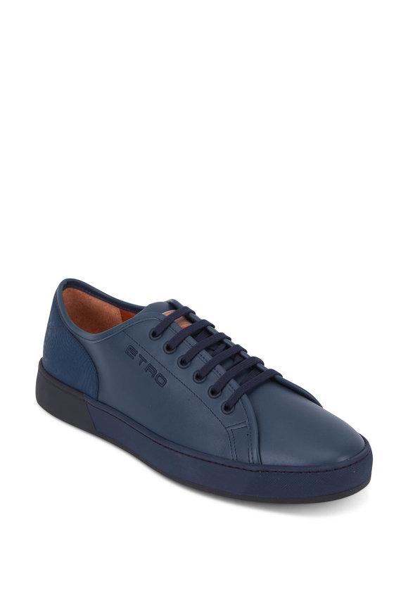 Etro Dark Blue Leather Paisley Detail Sneaker