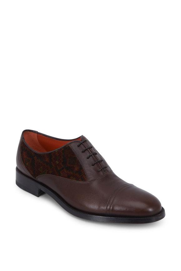 Etro Brown Leather Carpet Printed Corduroy Oxford