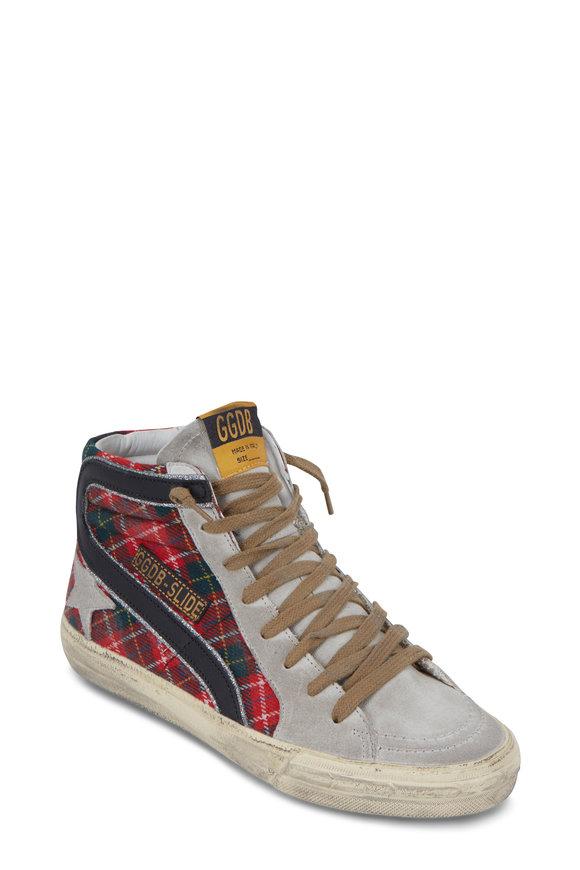 Golden Goose Slide Red Tartan High Top Sneaker