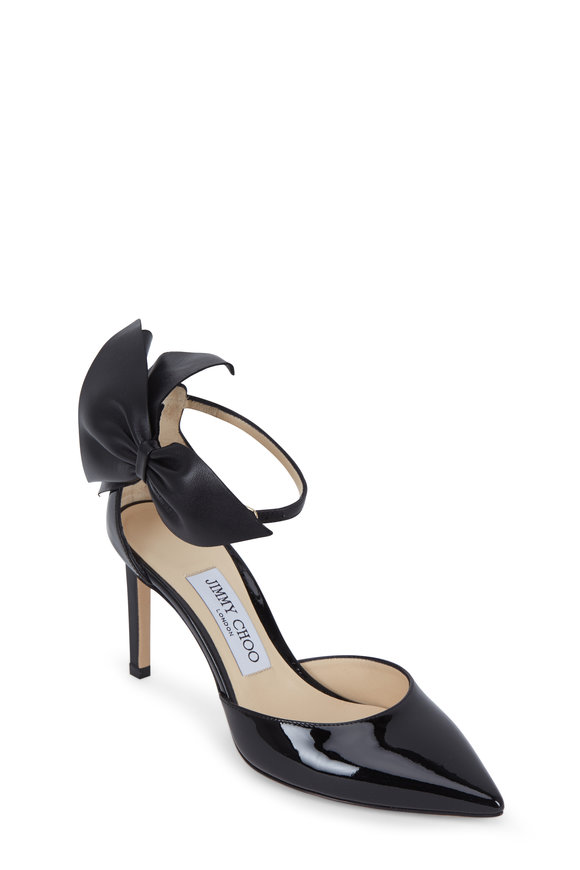 Jimmy Choo Kelley Black Patent Leather Bow Strap Pump, 85mm