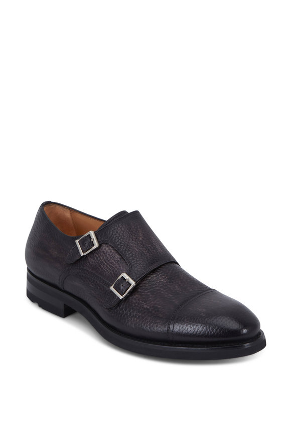Magnanni Jebor Gray Distressed Pebbled Leather Monk Shoe