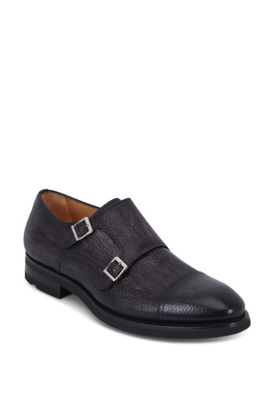 Magnanni - Jebor Gray Distressed Pebbled Leather Monk Shoe