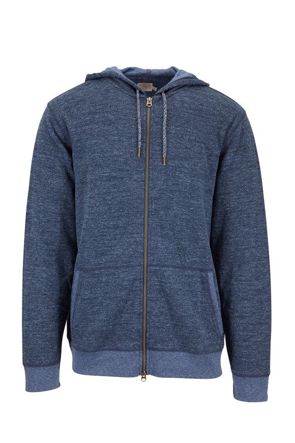 Faherty Brand Navy Full-Zip Hoodie