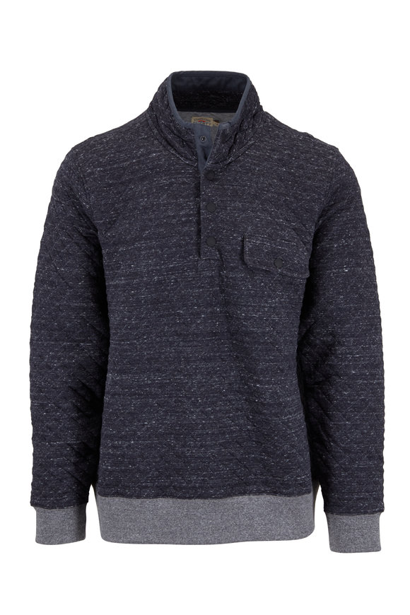 Faherty Brand Black Heather Quarter-Snap Quilted Pullover
