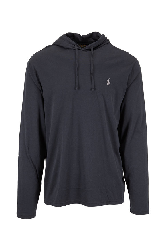 Polo Ralph Lauren Black Knit Drawstring Hoodie