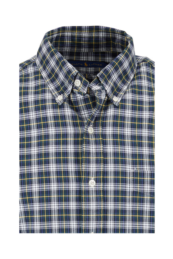 Polo Ralph Lauren Green & Yellow Plaid Classic Fit Oxford Shirt