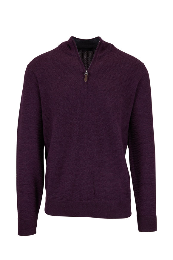 Raffi  Wineberry Wool Waffle Knit Quarter-Zip Pullover