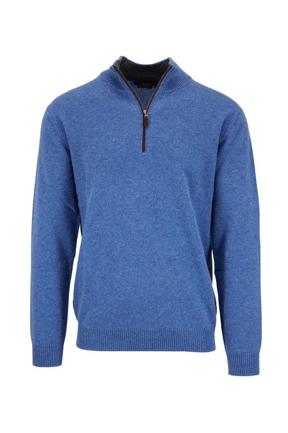 Kinross Light Indigo Cashmere Quarter-Zip Pullover