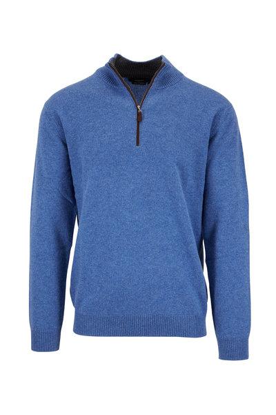 Kinross - Light Indigo Cashmere Quarter-Zip Pullover