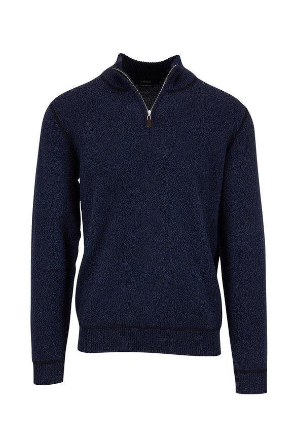 Kinross Black & Dark Indigo Cashmere Quarter-Zip Pullover