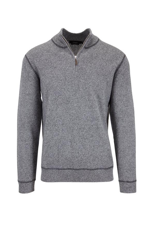 Kinross Graphite & Limestone Cashmere Quarter-Zip Pullover