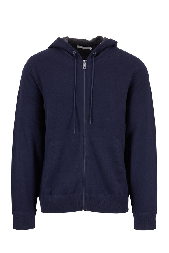 Vince Coastal Blue Cashmere Hooded Front Zip Cardigan