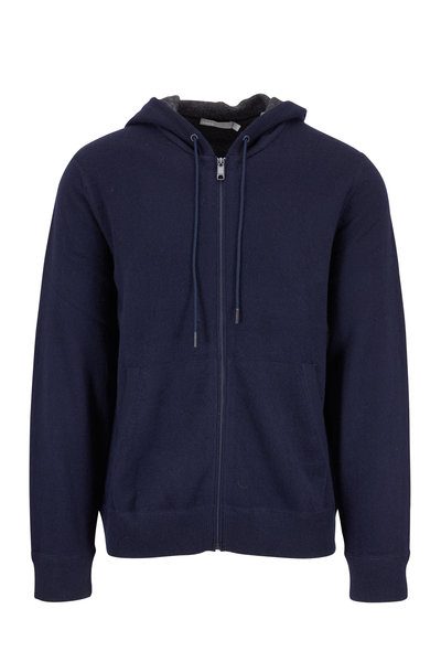 Vince - Coastal Blue Cashmere Hooded Front Zip Cardigan