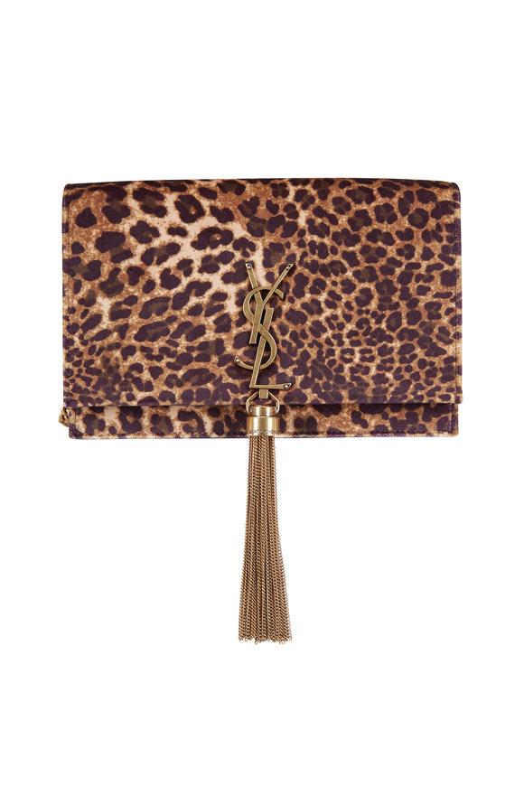 Saint Laurent Kate Leopard Velvet Chain Wallet Crossbody