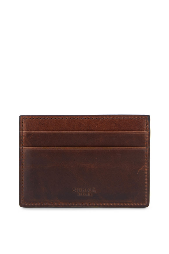 Shinola Brown Leather Six Pocket Card Case