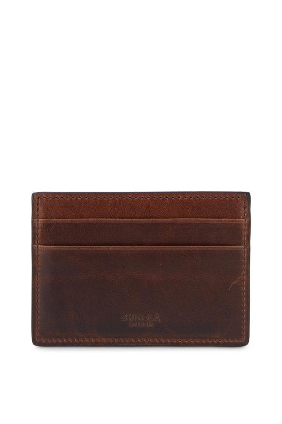 Shinola Brown Leather Six Pocket Card Case