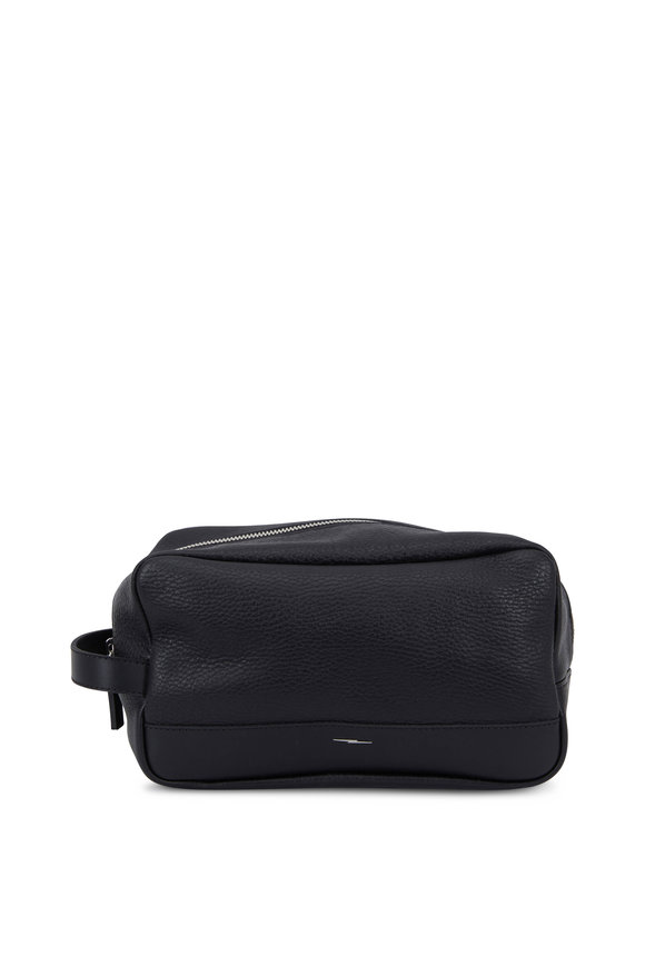 Shinola Black Grained Leather Zip Travel Case