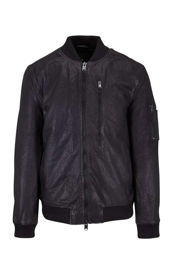 Hudson Clothing Black Leather Bomber Jacket