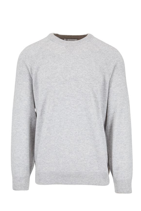 Brunello Cucinelli Gray Raglan Sleeve Crewneck Sweatshirt