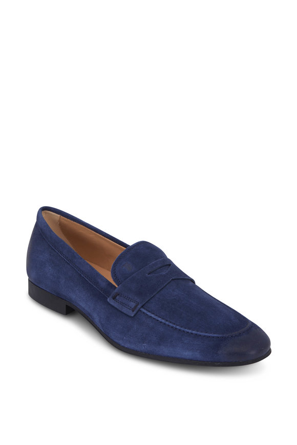 Tod's Navy Blue Suede Gomma Penny Loafer