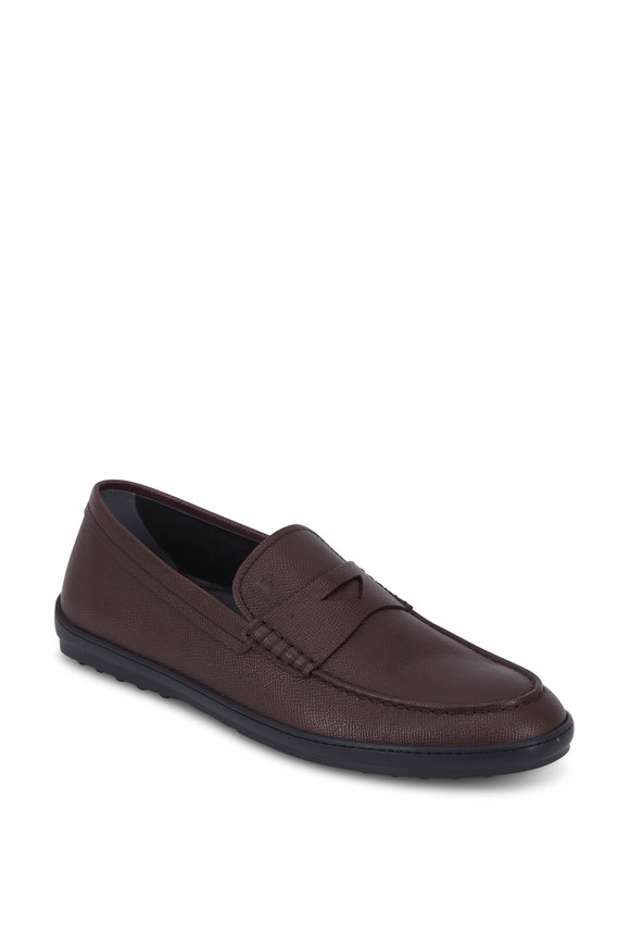 Tod's Burgundy Grained Leather Gommini Penny Loafer