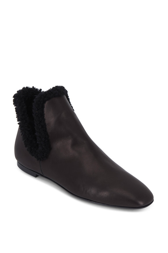 The Row Eros Black Leather Shearling Lined Flat Bootie