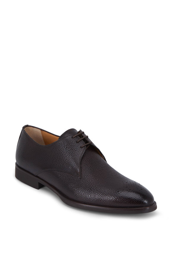 Di Bianco Martin Moro Dark Brown Pebbled Leather Derby Shoe