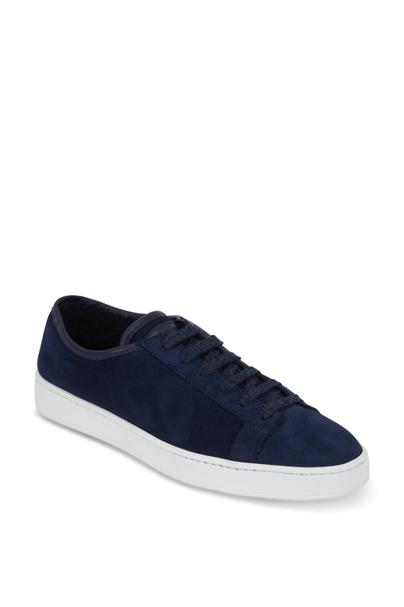 Santoni Cleanic Navy Blue Suede Shearling Lined Sneaker