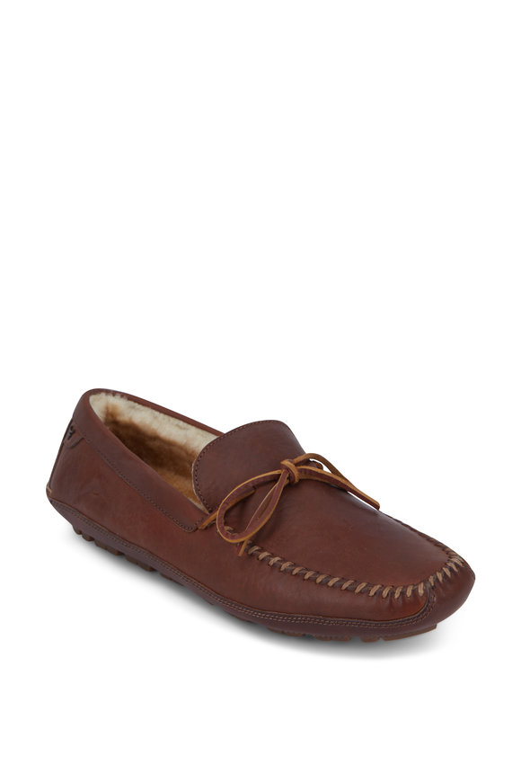 Trask Polson Saddle Tan Leather Shearling Lined Loafer