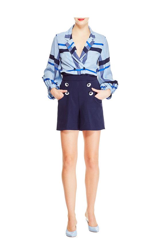 Lela Rose Navy Blue High-Waist Flower Button Shorts